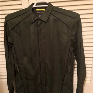 Men's Green Cotton Shirt with Stripe Embossing
